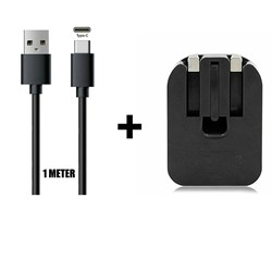 Picture of Dual USB 2.1A Charger Foldable Plug & 1M Type-C Data Cable For All Mobile Phones