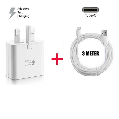 Picture of Genuine Samsung Fast Charger Charging Plug & 3m USB-C Data Lead For Galaxy Phone