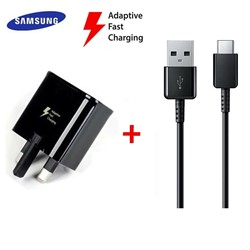 Picture of Genuine Samsung Fast Charger Plug & 3M USB-C Cable For Galaxy A20 A20e A30 A30s