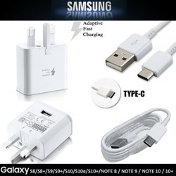Picture of Genuine Samsung Fast Charging Adapter & Type C Data Cable For S8 /S8+ | S9/S9+ | S10/S10+ and Note  8 9 10