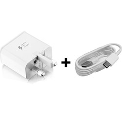 Picture of Genuine Samsung Fast Wall Charger Plug & 2M USB-C Cable For Galaxy S 10 10+5G