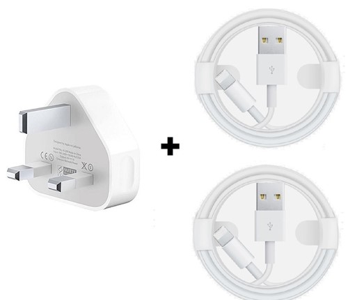 Picture of Apple iPhone   XS, XR, 8, 8+, 7, 6, 6+  Power Charging Adapter and 2 USB Lightning Cables