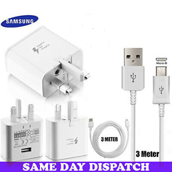 Picture of Genuine Samsung Fast Charger Plug 3M USB Cable For Galaxy J4 J4+ J6 J6+ Plus Lot
