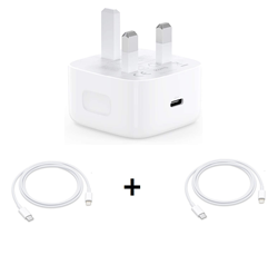 Picture of Apple iPhone 12 Power Charging Adapter and 2 USB-C to Lightning Cable