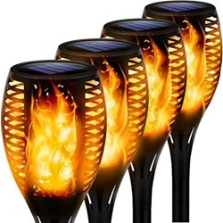 Picture of Solar Flickering Dancing Flame Lights Waterproof Security Lights, Dusk to Dawn Auto On/Off for Garden