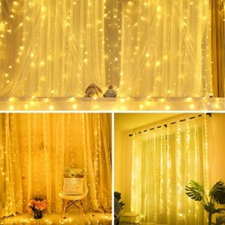 Picture of Curtain Fairy Lights 300 LED Plug in, Warm White Lights for Indoor Outdoor